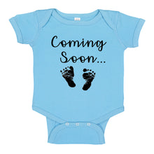 Load image into Gallery viewer, nk Trendz® Baby Coming Soon Foot Prints Pregnancy Reveal Announcement Baby Romper Bodysuit Media 1 of 13 Pregnancy reveal, baby announcement, baby shower gift baby Boy