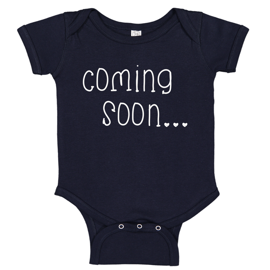 Ink Trendz®  Baby Coming Soon Pregnancy Reveal Announcement Baby Romper Bodysuit