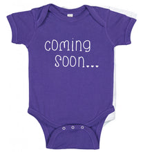 Load image into Gallery viewer, Ink Trendz®  Baby Coming Soon Pregnancy Reveal Announcement Baby Romper Bodysuit