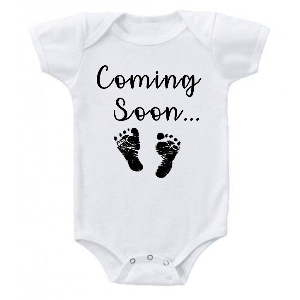 Ink Trendz® Baby Coming Soon Foot Prints Pregnancy Reveal Announcement Baby Romper Bodysuit Media 1 of 13 Pregnancy reveal, baby announcement, baby shower gift