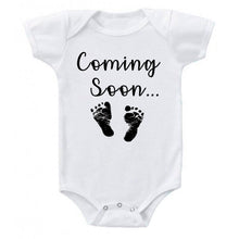 Load image into Gallery viewer, Ink Trendz® Baby Coming Soon Foot Prints Pregnancy Reveal Announcement Baby Romper Bodysuit Media 1 of 13 Pregnancy reveal, baby announcement, baby shower gift