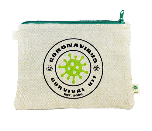 Ink Trendz® CORONAVIRUS Survival Kit Covid-19 Novelty Zipper Hemp Pouch Bag, Corona Virus survivor