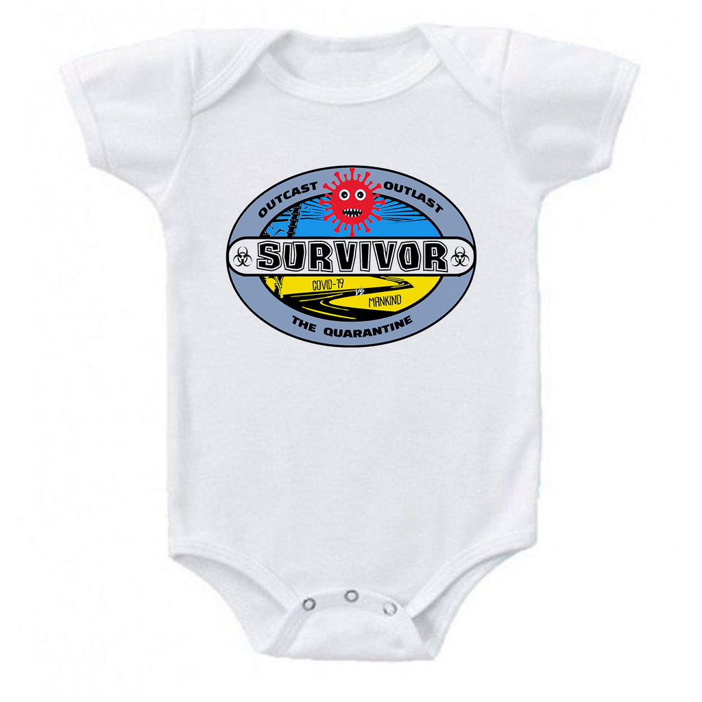 Ink Trendz® Coronavirus Survivor Outcast Outlast The Quarantine COVID-19  Baby-Toddler One-piece Bodysuit