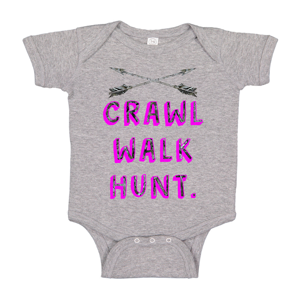 Camo Pink Crawl Walk Hunt. Crossed Arrows Baby Bodysuit