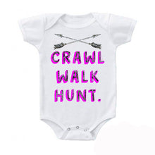 Load image into Gallery viewer, Camo Pink Crawl Walk Hunt. Crossed Arrows Baby Bodysuit