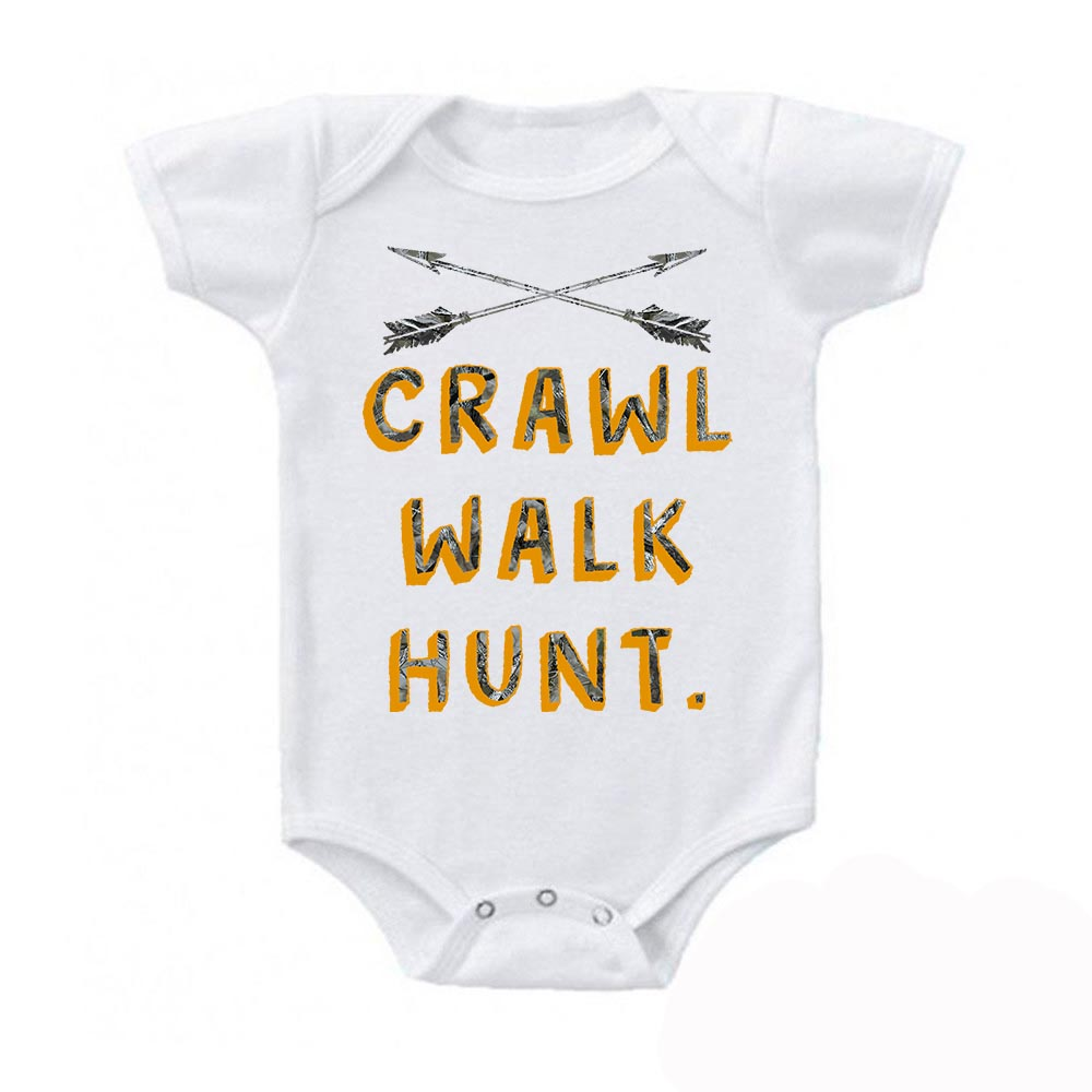 Camo Orange Crawl Walk Hunt.  Crossed Arrows Baby Bodysuit
