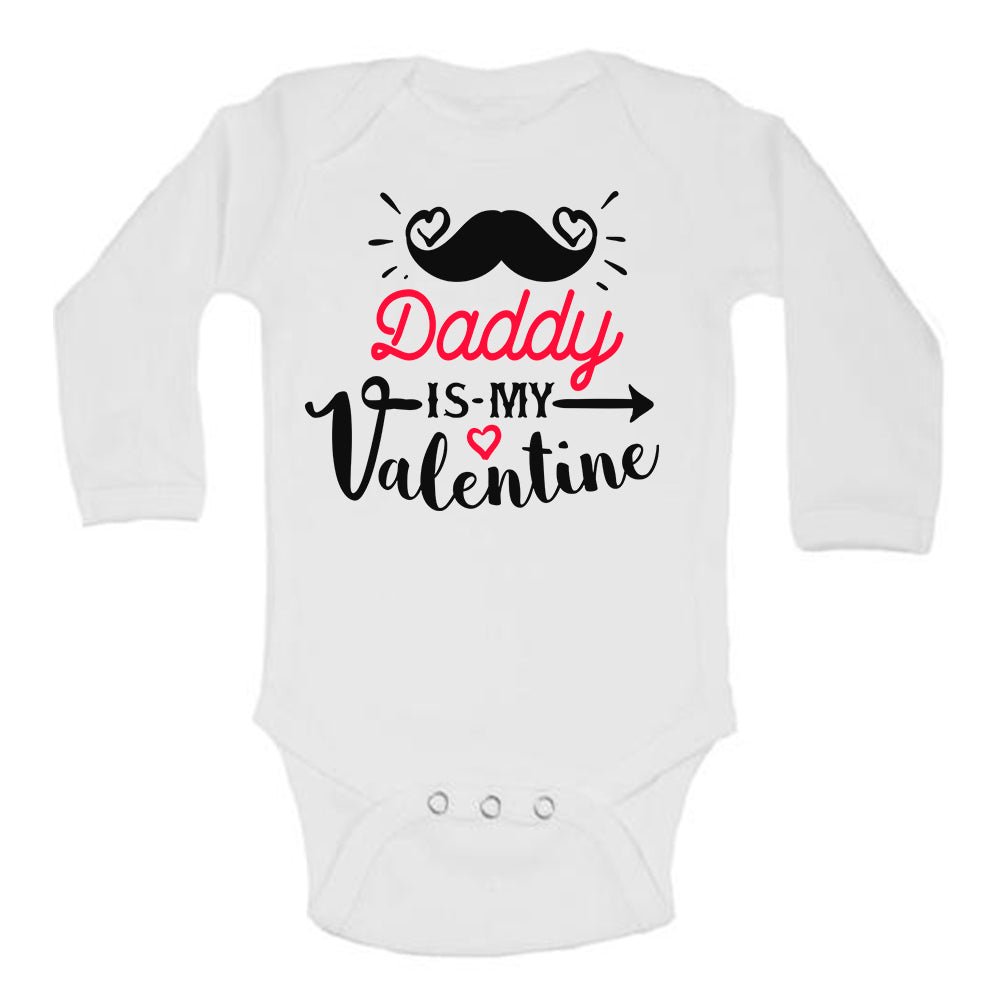Daddy is my Valentine Mustache Cute Baby Bodysuit
