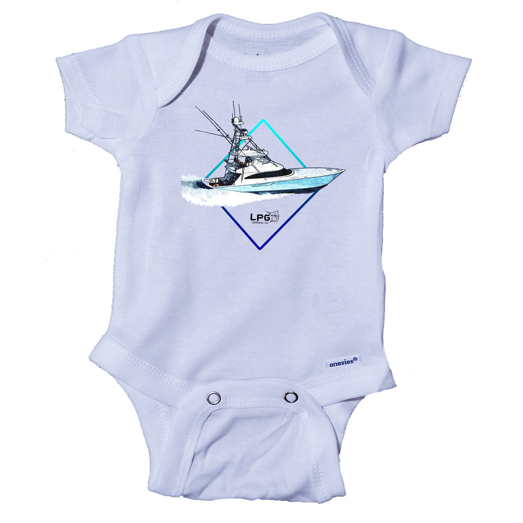 LPG Apparel Co. Diamond Sportfish Baby Onesie® One-Piece Bodysuit Sport Fishing Boat, Viking Yachts Onesie, Viking Sportfish, Tournament Onesie