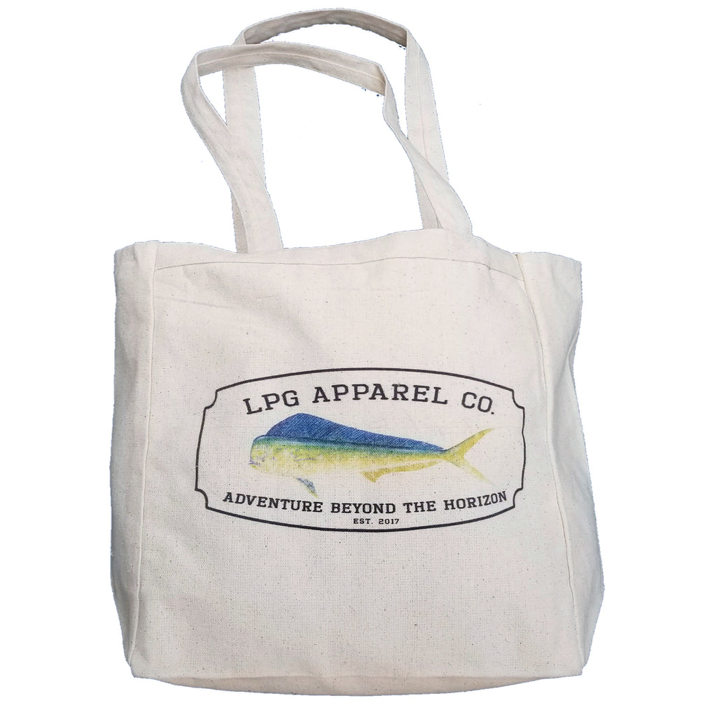 LPG Apparel Co. Mahi-Mahi Surf. Fish. Dive.  10oz. Natural Canvas Cotton Tote, Fishing themed tote Bag, Mahi Tote Bag, Mah Mahi Gear, Fishing Bag, Fishing themed lunch Bag