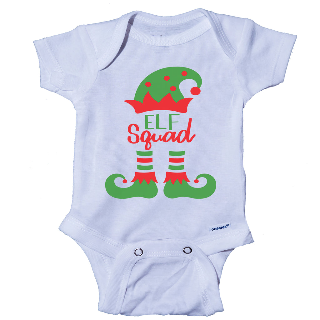 Ink Trendz® Elf Squad Cute Christmas Elf Onesie® One-Piece Bodysuit- Ink Trendz Babies first Christmas Onesie, babies first christmas, christmas onesies, christmas garment