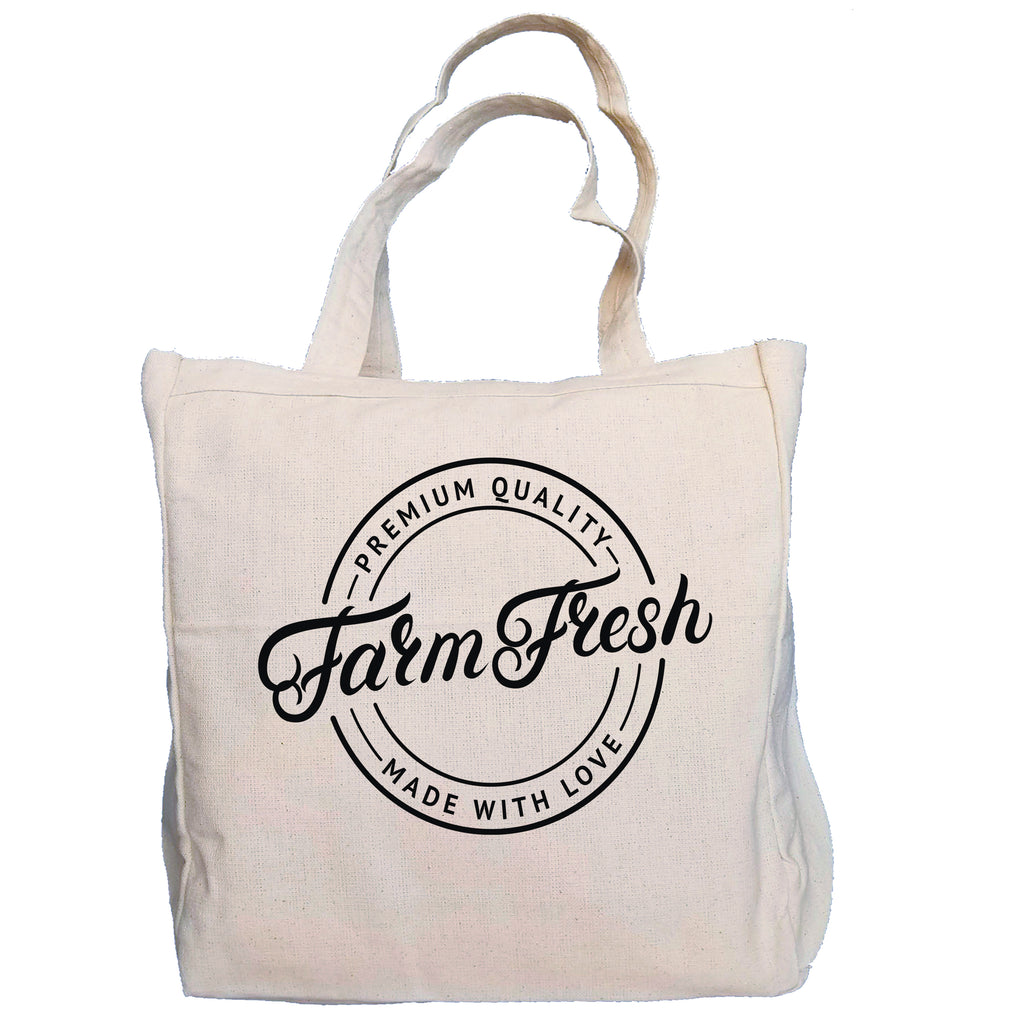 Ink Trendz® Farm Fresh Made With Love Farmers Market 10oz. Natural Canvas Cotton Tote, Canvas Farmers Market Tote, Tote Bags, Reusable Grocery Bags