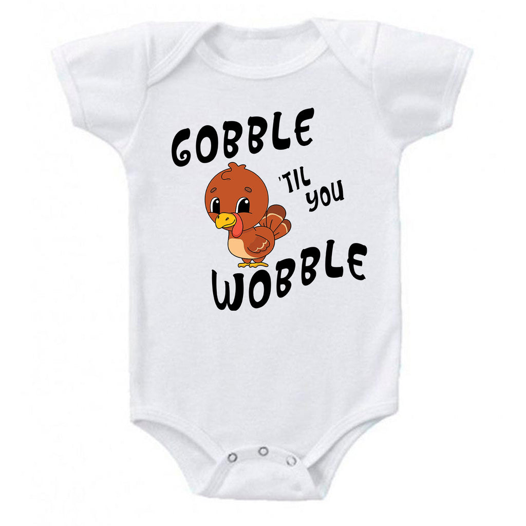 Gobble 'Til You Wobble Cute Baby Turkey Thanksgiving Baby Bodysuit One-piece Romper