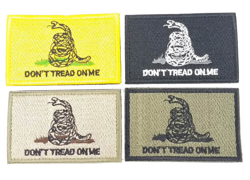 Gadsden Don't Tread On Me Tactical Military Style Hook & Loop Velcr Style Embroidered Patch Various Colors with Backing
