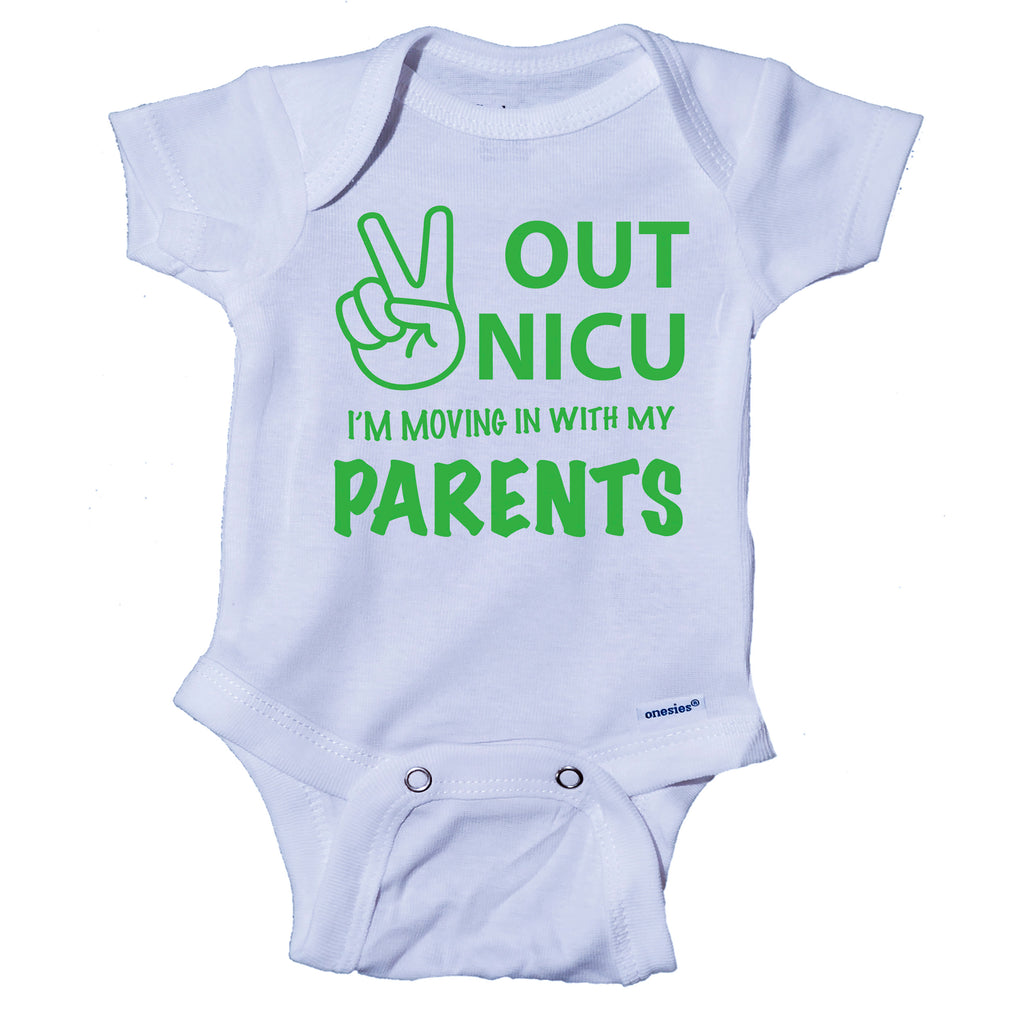 Peace Out NICU I'm Going Home With My Parents- Miracle Baby- NICU Baby Onesie® One-Piece Bodysuit- Ink Trendz