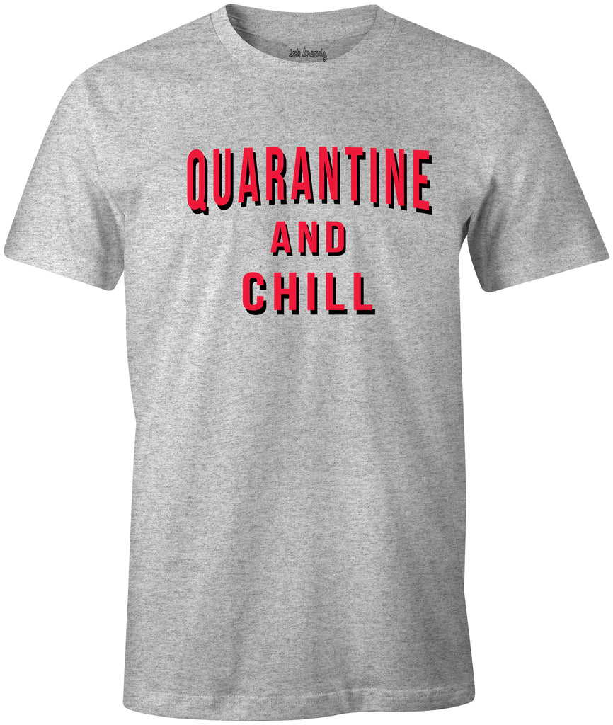 Ink Trendz® Quarantine And Chill Coronavirus est. 2020 Funny Covid-19 T-Shirt Netflix Tee, Netflix T-Shirt in Heather Grey