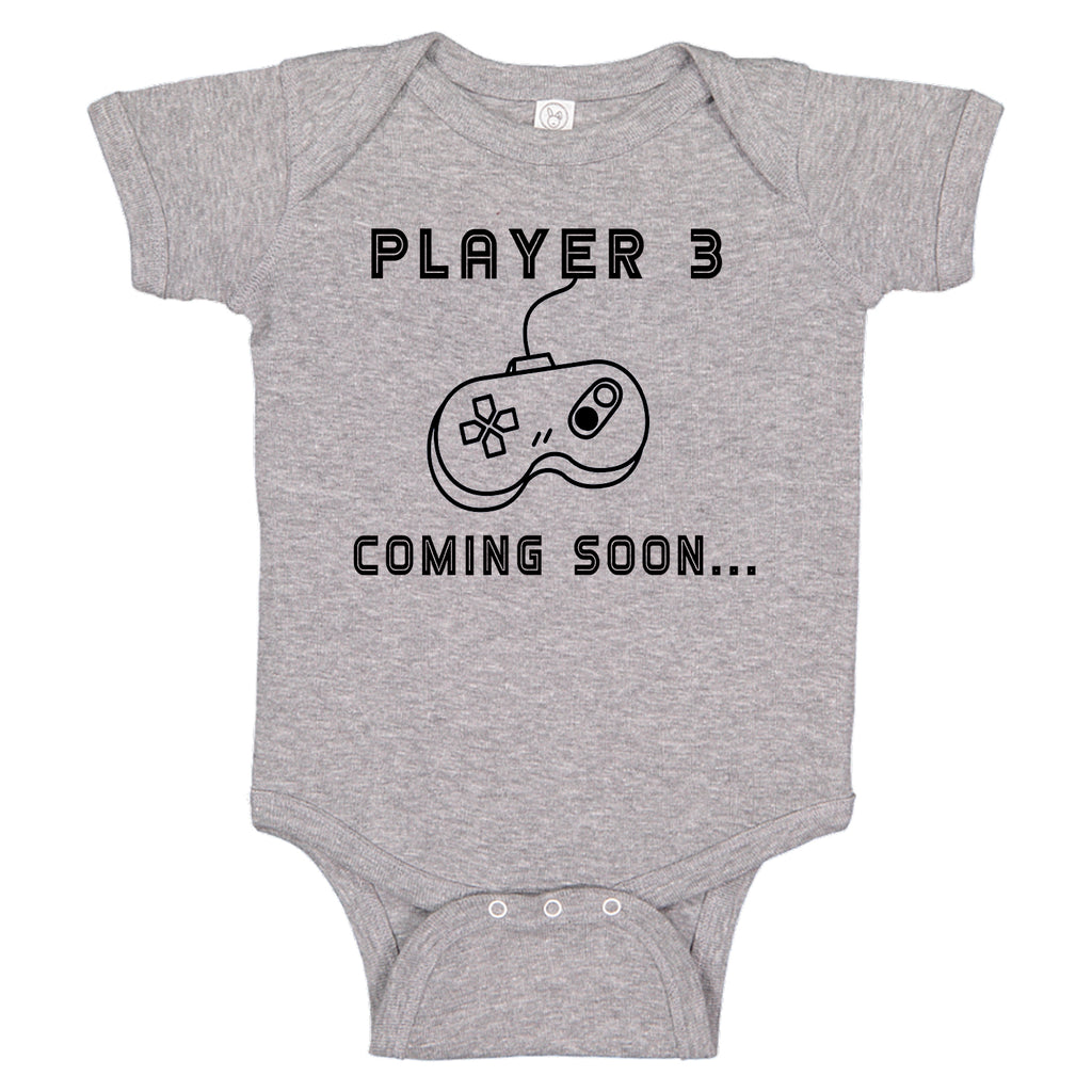 Ink Trendz® Player 3 Coming Soon.. Gamer Funny Pregnancy Reveal Novelty One-Piece Baby Bodysuit