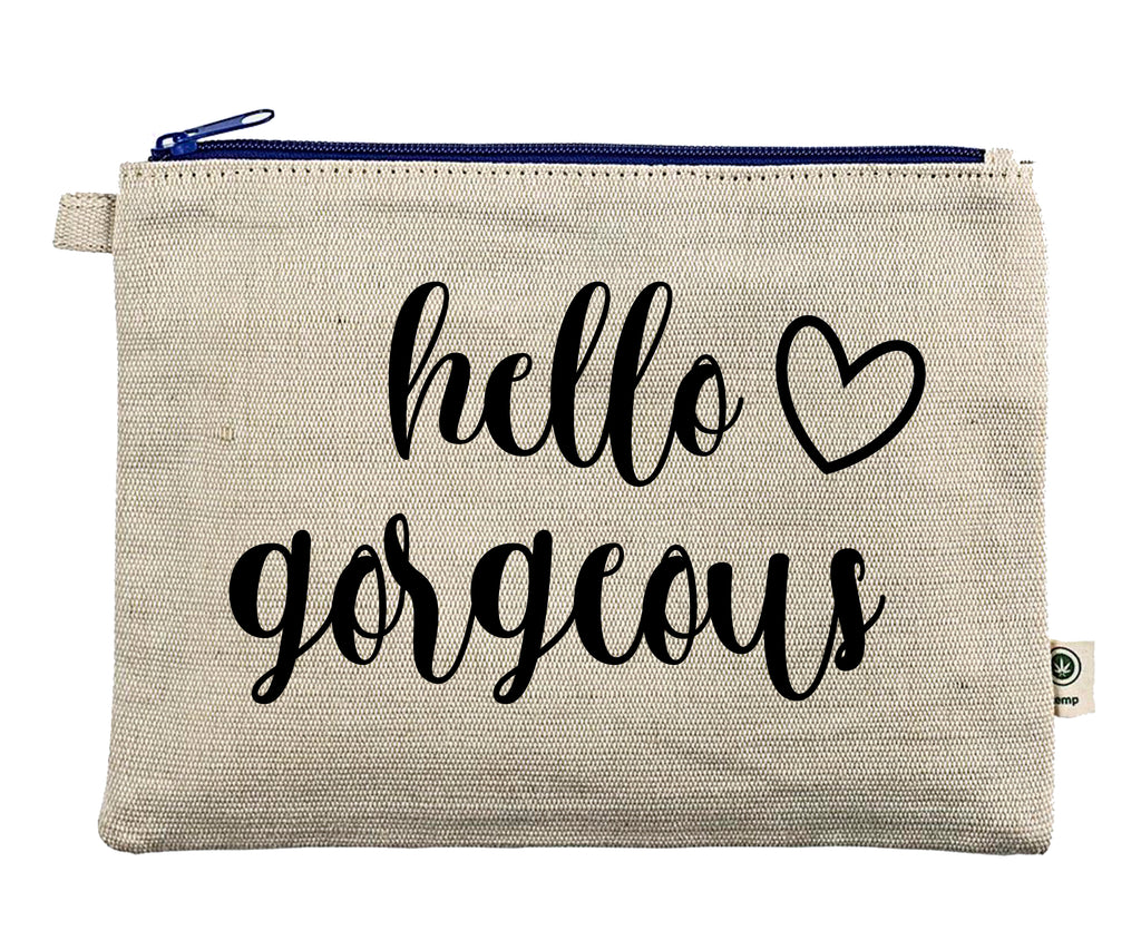 Ink Trendz® Hello Gorgeous Makeup Heart Bag Zipper Hemp Pouch Pencil, Cosmetic Bag