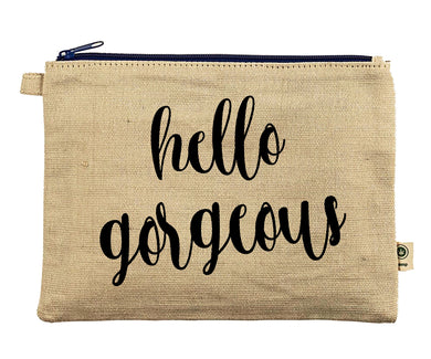 Ink Trendz® Hello Gorgeous Makeup Bag Zipper Hemp Pouch Pencil, Cosmetic Bag