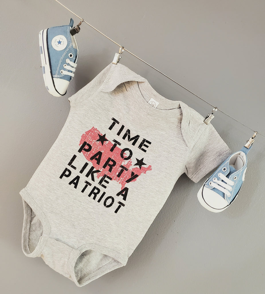 Ink Trendz Time to Party Like a Patriot Military Bodysuit Baby Bodysuit