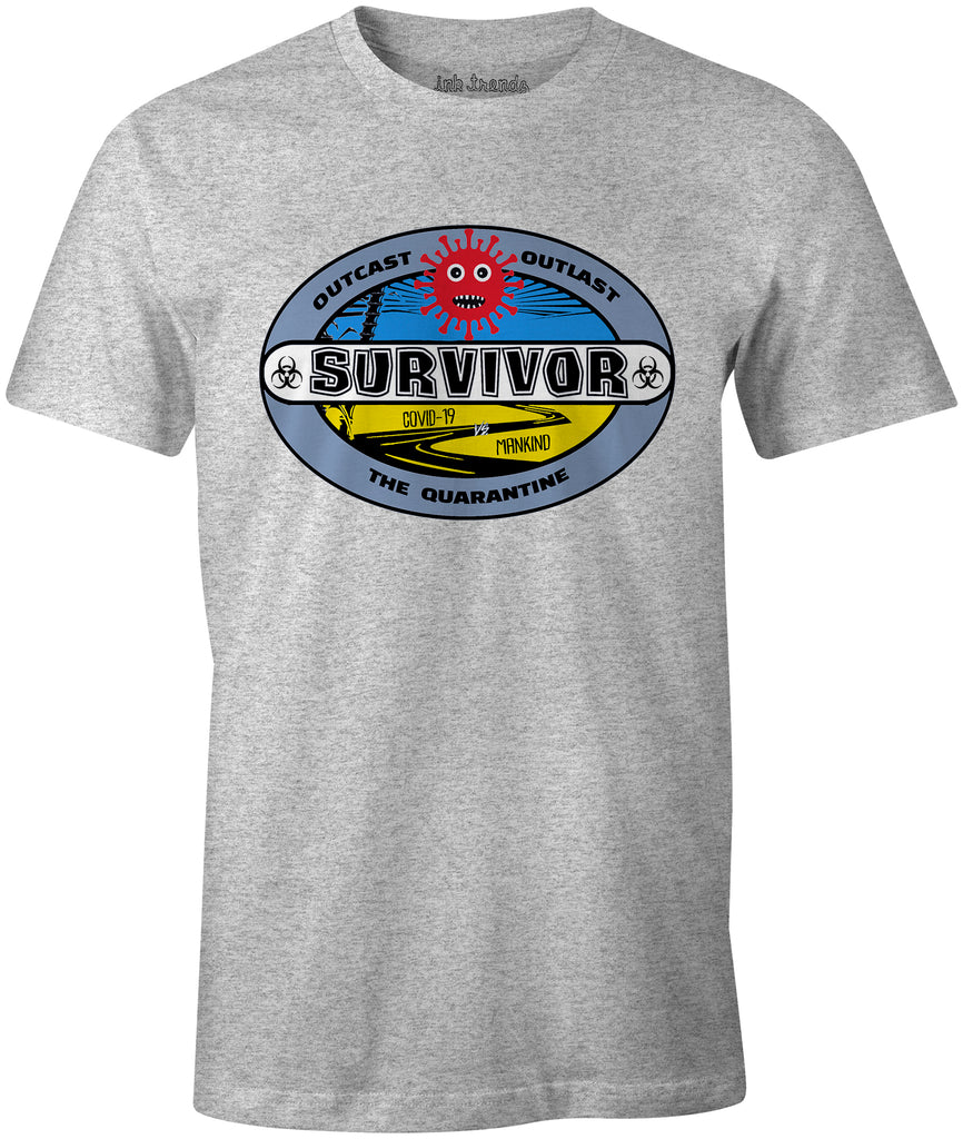 Ink Trendz® Coronavirus Survivor Out Cast Out Last The Quarantine est. 2020 Funny Covid-19 T-Shirt Survivor tv show inspired