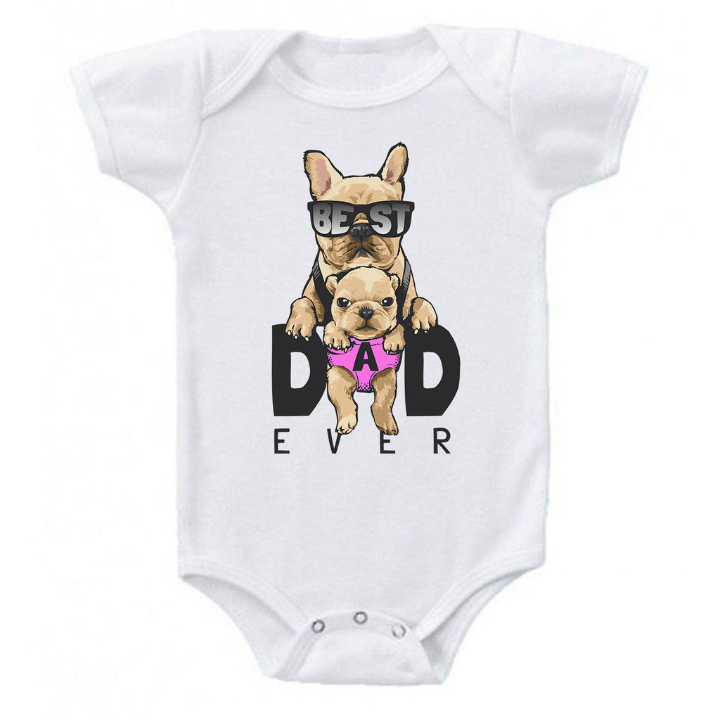 Ink Trendz Best Dad Ever Cute Pug Puppy Baby Bodysuit, Baby Onesie, Fathers Day Onesie, Fathers Day, Daddies little boy Onesie, Daddies little Girl Onesie