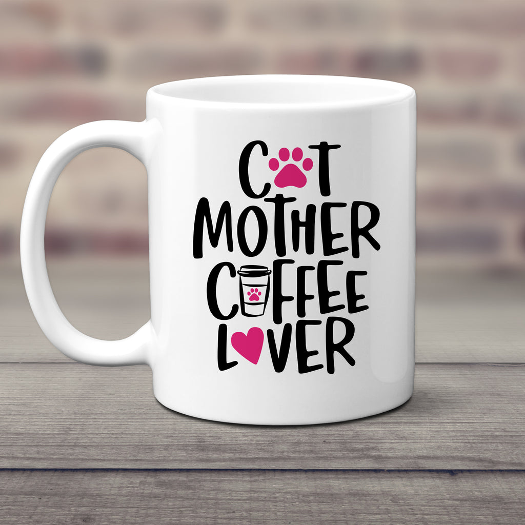 Ink Trendz® Cat Mother Coffee Lover  11 oz. Ceramic Coffee Mug, Cat Lady, Funny Cat Mug, Funny Cat Coffee Mugs, kitty mug, Cat Mom Mug, Amazon Mug, Amazon Cat Mug