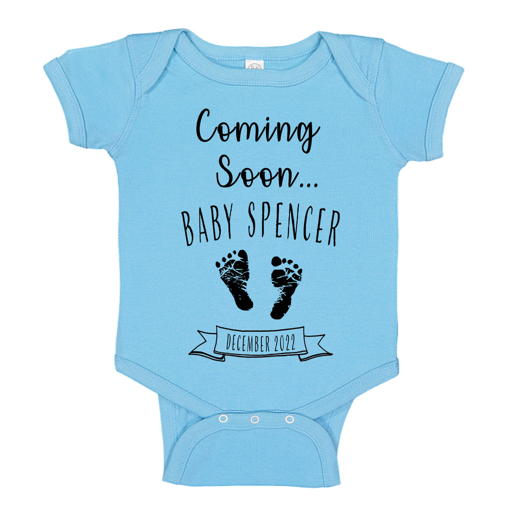 Ink Trendz® Customized Coming Soon... Name and Expecting Date Announcement Baby Bodysuit Romper onesie, Announcement Onesie, Baby Announcement, Gender Reveal Onesie, Gender Reveal, Coming Soon Onesie, Husband Baby Announcement