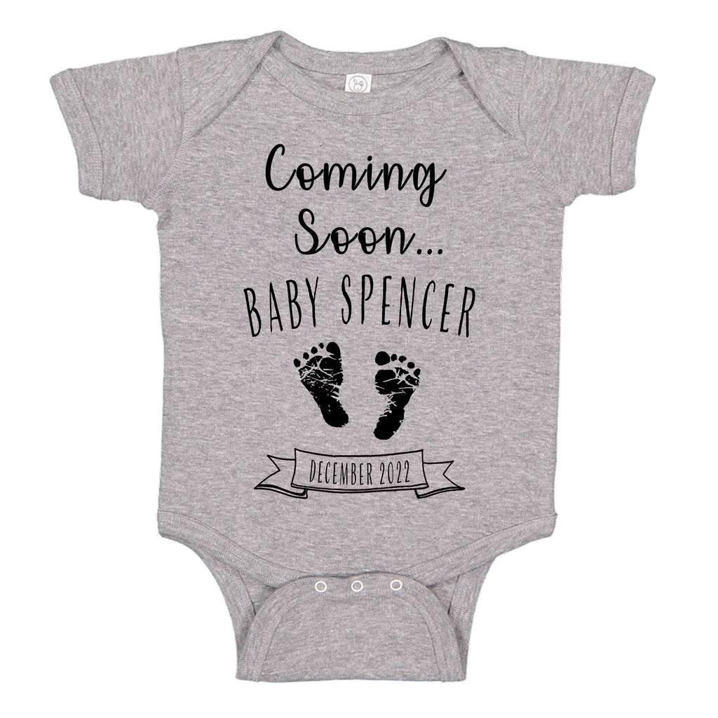 Ink Trendz® Customized Coming Soon... Name and Expecting Date Announcement Baby Bodysuit Romper onesie, Announcement Onesie, Baby Announcement, Gender Reveal Onesie, Gender Reveal, Coming Soon Onesie, Husband Baby Announcement In Heather Grey