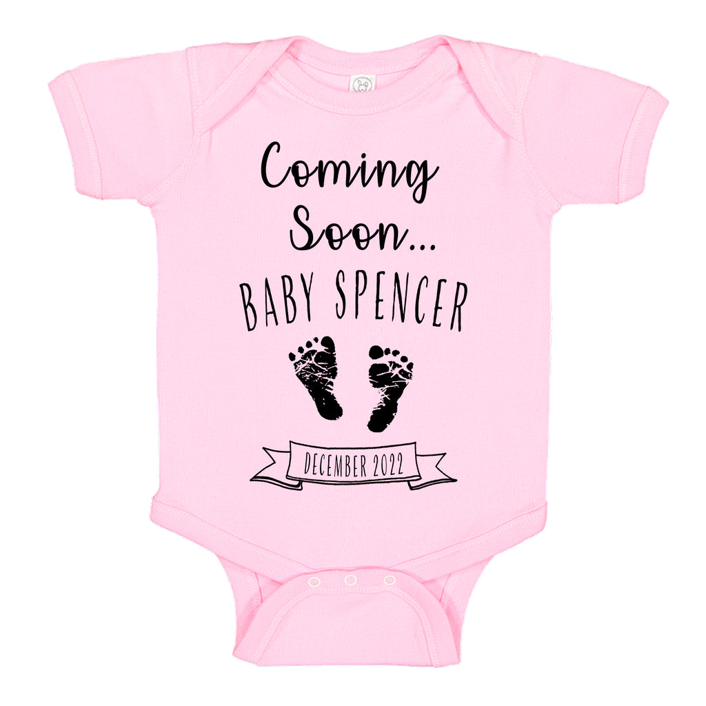 Ink Trendz® Customized Coming Soon... Name and Expecting Date Announcement Baby Bodysuit Romper onesie, Announcement Onesie, Baby Announcement, Gender Reveal Onesie, Gender Reveal, Coming Soon Onesie, Husband Baby Announcement in Pink, Baby Girl, Baby Girl Reveal