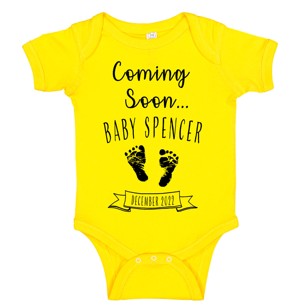 Ink Trendz® Customized Coming Soon... Name and Expecting Date Announcement Baby Bodysuit Romper onesie, Announcement Onesie, Baby Announcement, Gender Reveal Onesie, Gender Reveal, Coming Soon Onesie, Husband Baby Announcement Gender Neutral
