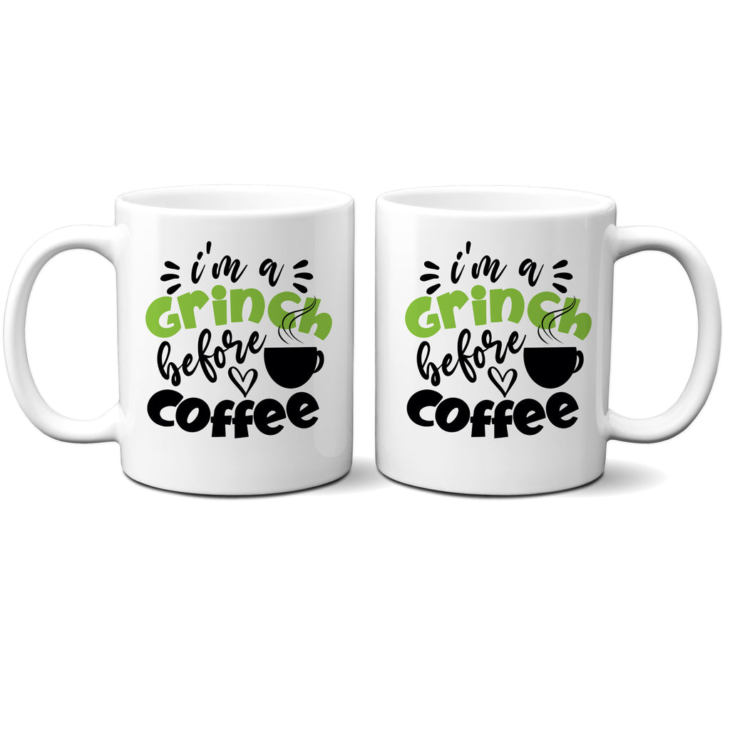 Ink Trendz® I'm A GRINCH before Coffee Funny Christmas Coffee Mug