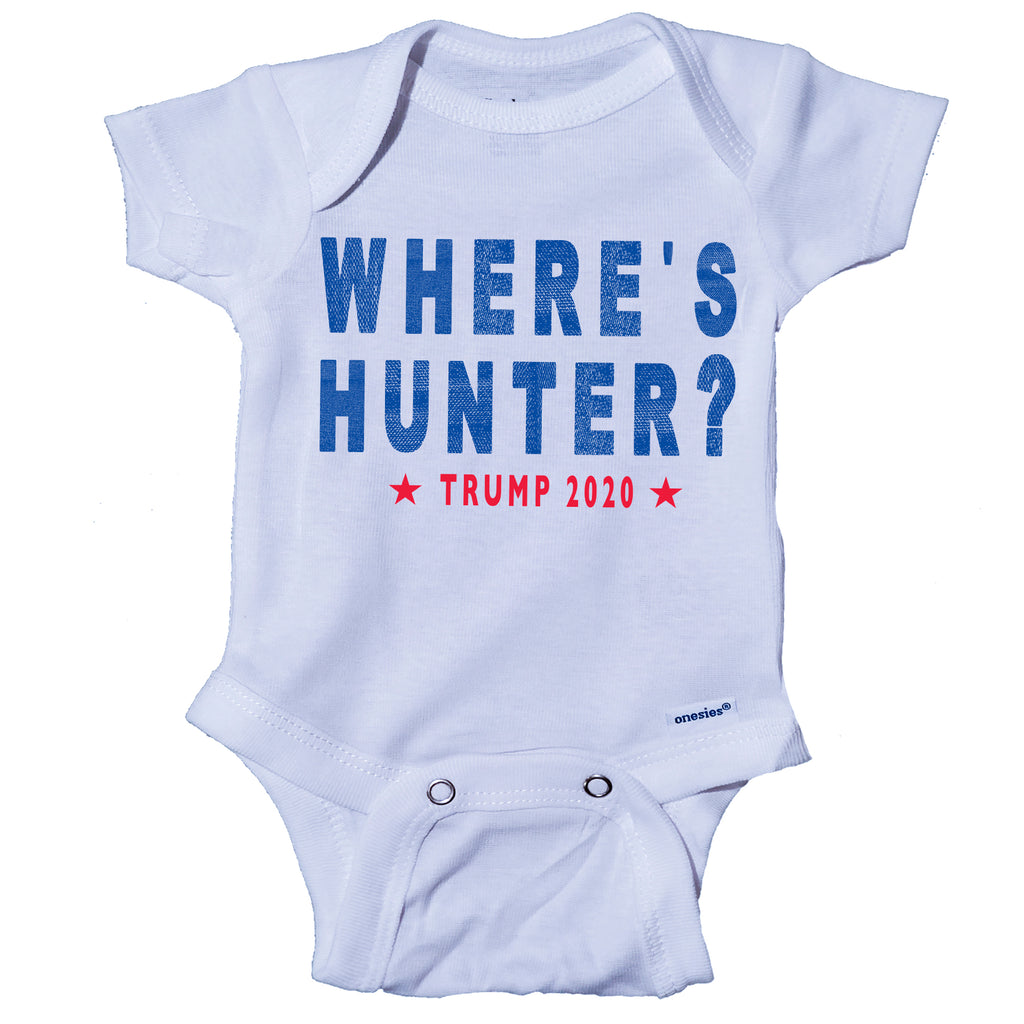 Ink Trendz Where's Hunter? Trump 2020 Republican Baby Onesie® One-Piece Bodysuit