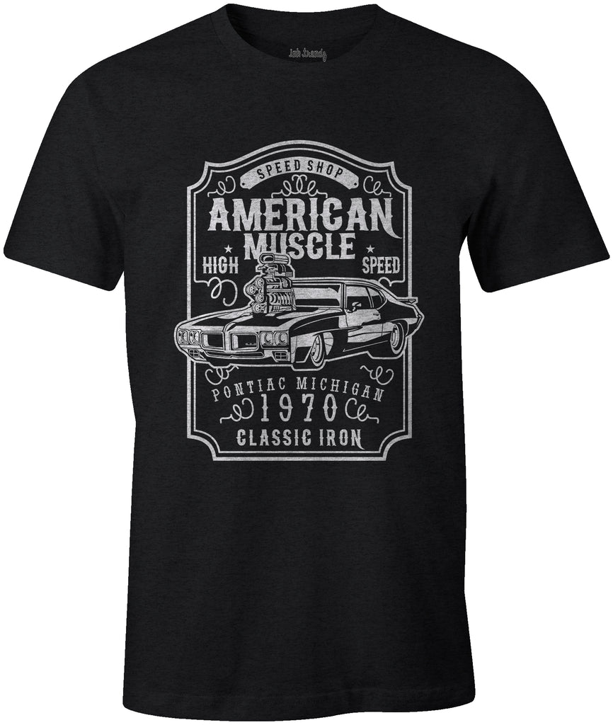 Ink Trendz American Muscle Pontiac GTO Classic Iron 1970 T-shirt In Black Racing T-Shirt