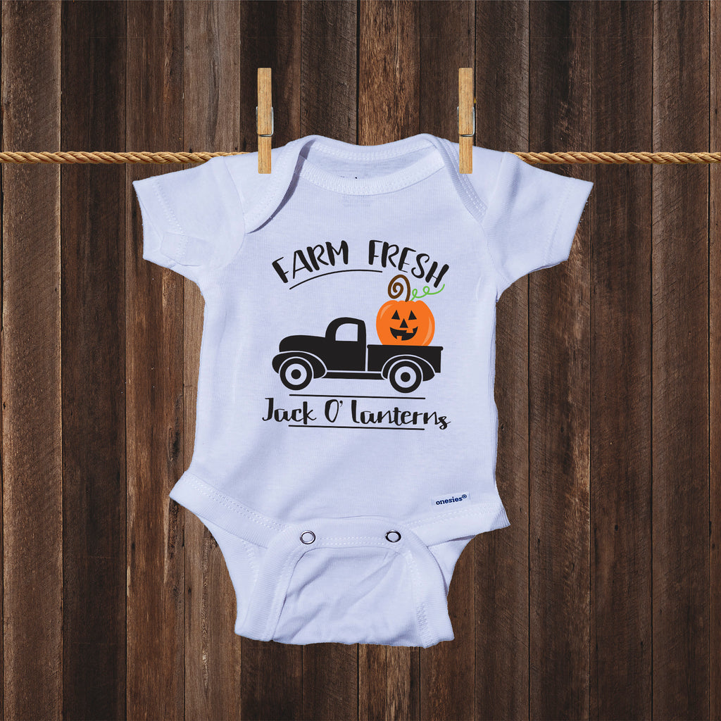 Ink Trendz Farm Fresh Jack O Lanterns Cute Pumpkin Halloween Baby One-piece Onesie