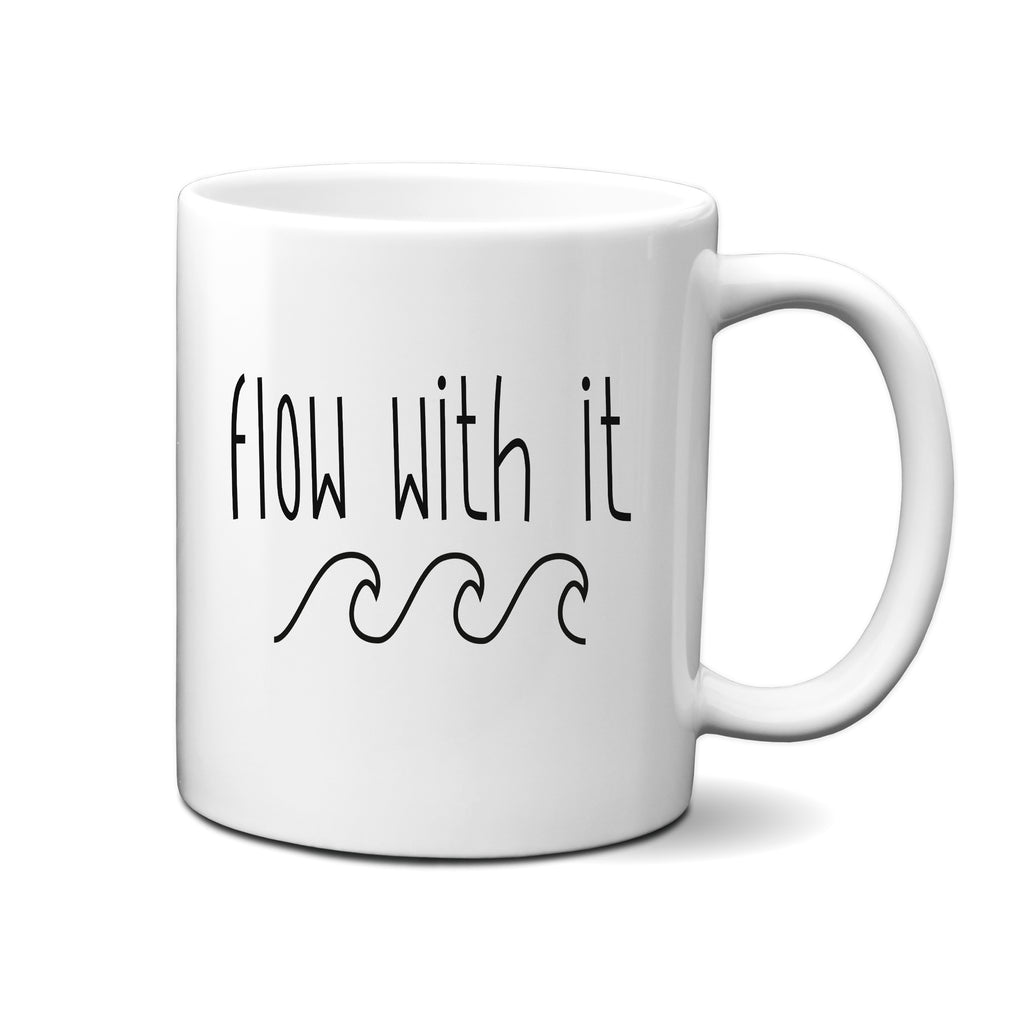 Ink Trendz®  Flow With It  Waves Adventure 11 oz. Ceramic Coffee Mug, Surfing Mug, Waves Coffee Mug, Surf Coffee Mug