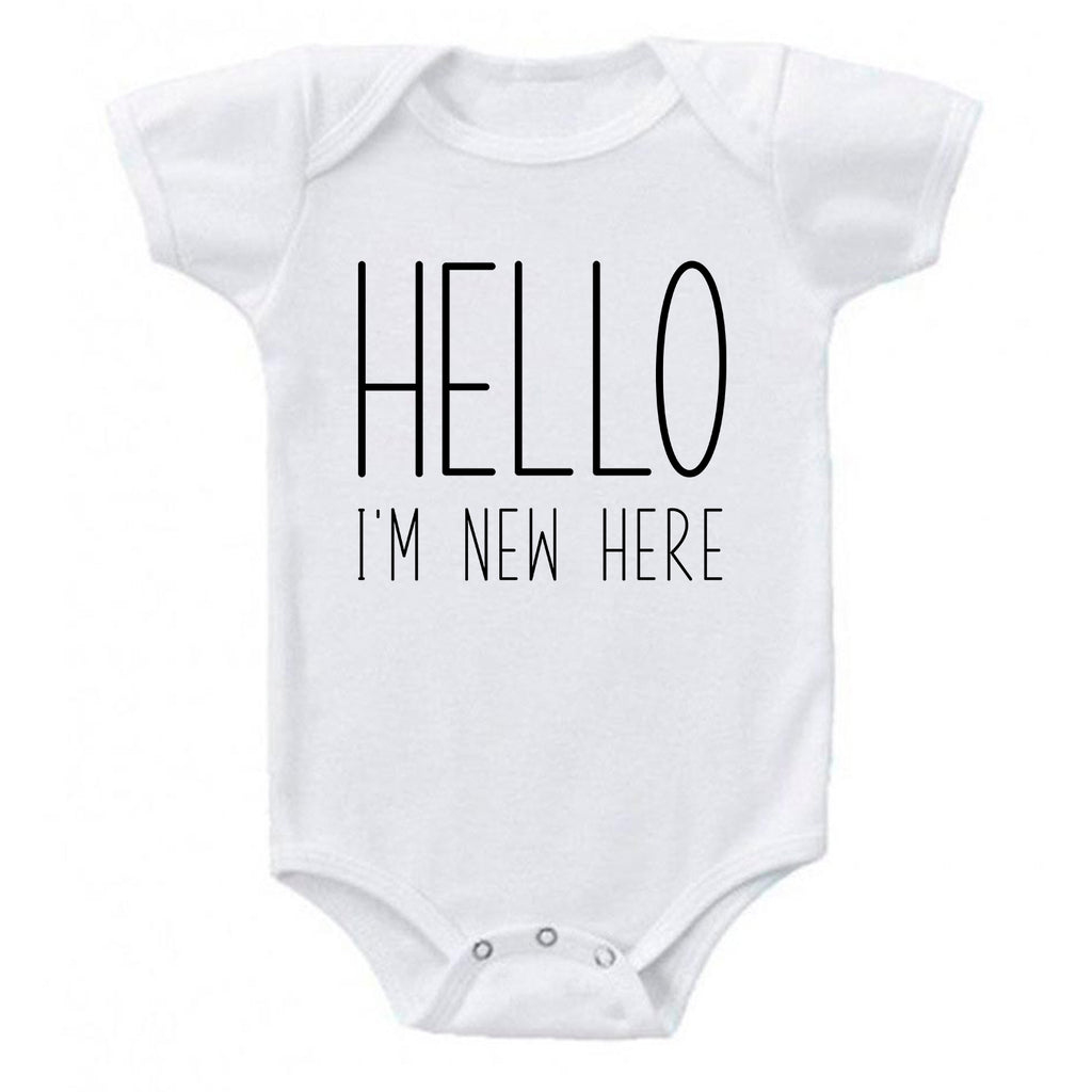 Ink Trendz® HELLO I'M NEW HERE Baby Reveal Announcement Baby Romper Bodysuit, baby announcement onesie, I'm New Here Onesie
