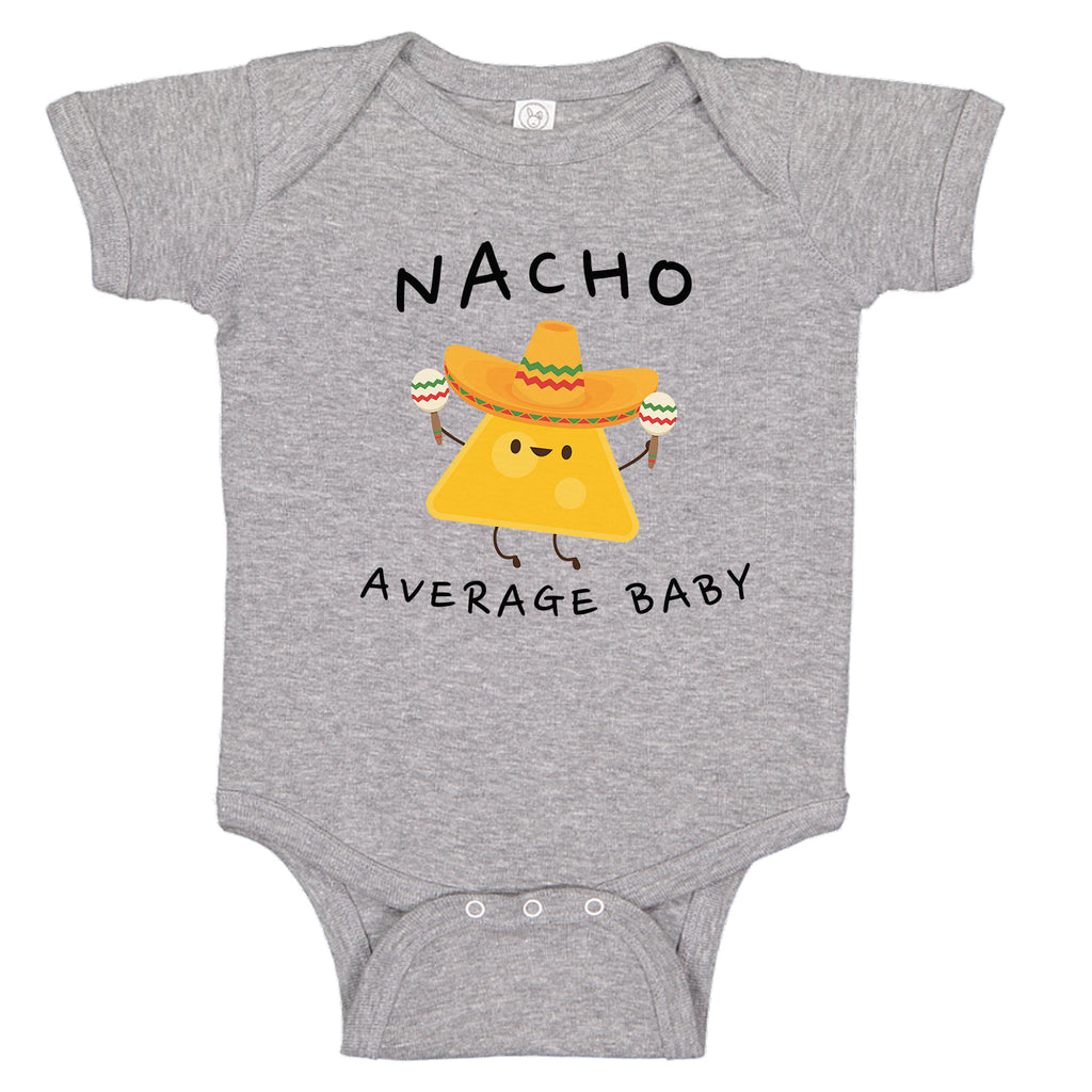 Ink Trendz Nacho Average Baby Funny Taco Tuesday  Baby Romper Bodysuit, Funny Nacho Onesie, Nacho Baby Onesie, Baby Shower Gift, Pregnancy reveal, Baby Boy Onesie, Baby Girl Onesie in Heather Grey