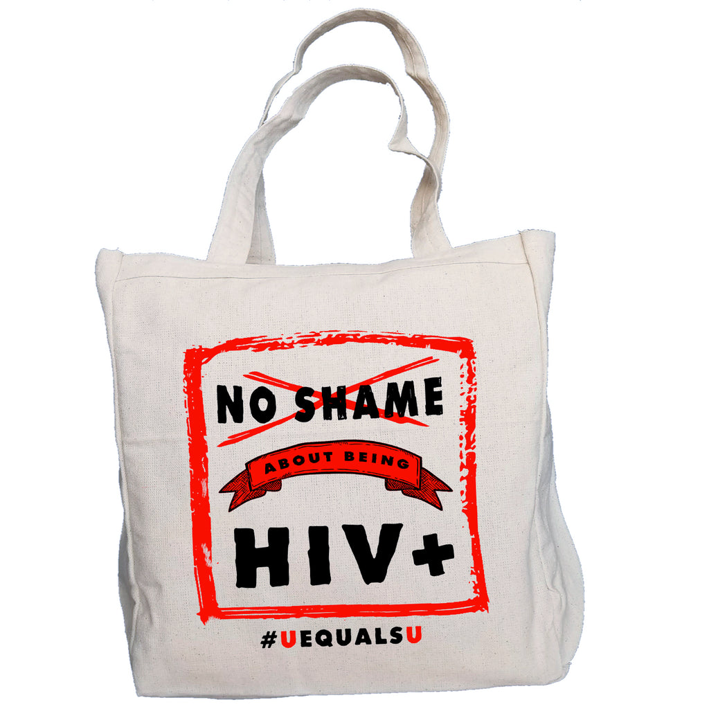Ink Trendz NO SHAME #UequalsU U=U HIV Awareness Ribon 10oz. Natural Canvas Cotton Tote, HIV AWARENESS PROMOTIONAL ITEMS