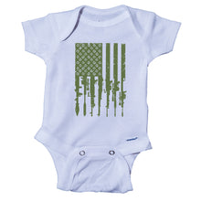 Load image into Gallery viewer, Ink Trendz® Distressed American Flag RPG Guns Freedom Onesie® Military Baby Boy Onesie, Military Onesies, Military Onesie, military Green Onesie