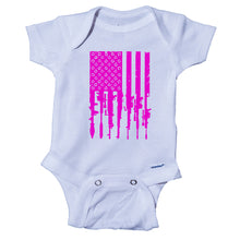 Load image into Gallery viewer, Ink Trendz® Distressed American Flag RPG Guns Freedom Onesie® Military Baby Boy Onesie, Military Onesies, Military Onesie, Pink Military Onesie, Military Baby Girl