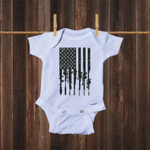 Load image into Gallery viewer, Ink Trendz® Distressed American Flag RPG Guns Freedom Onesie® Military Baby Boy Onesie, Military Onesies, Military Onesie