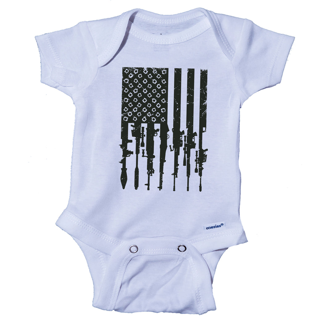 Ink Trendz® Distressed American Flag RPG Guns Freedom Onesie® Military Baby Boy Onesie, Military Onesies, Military Onesie