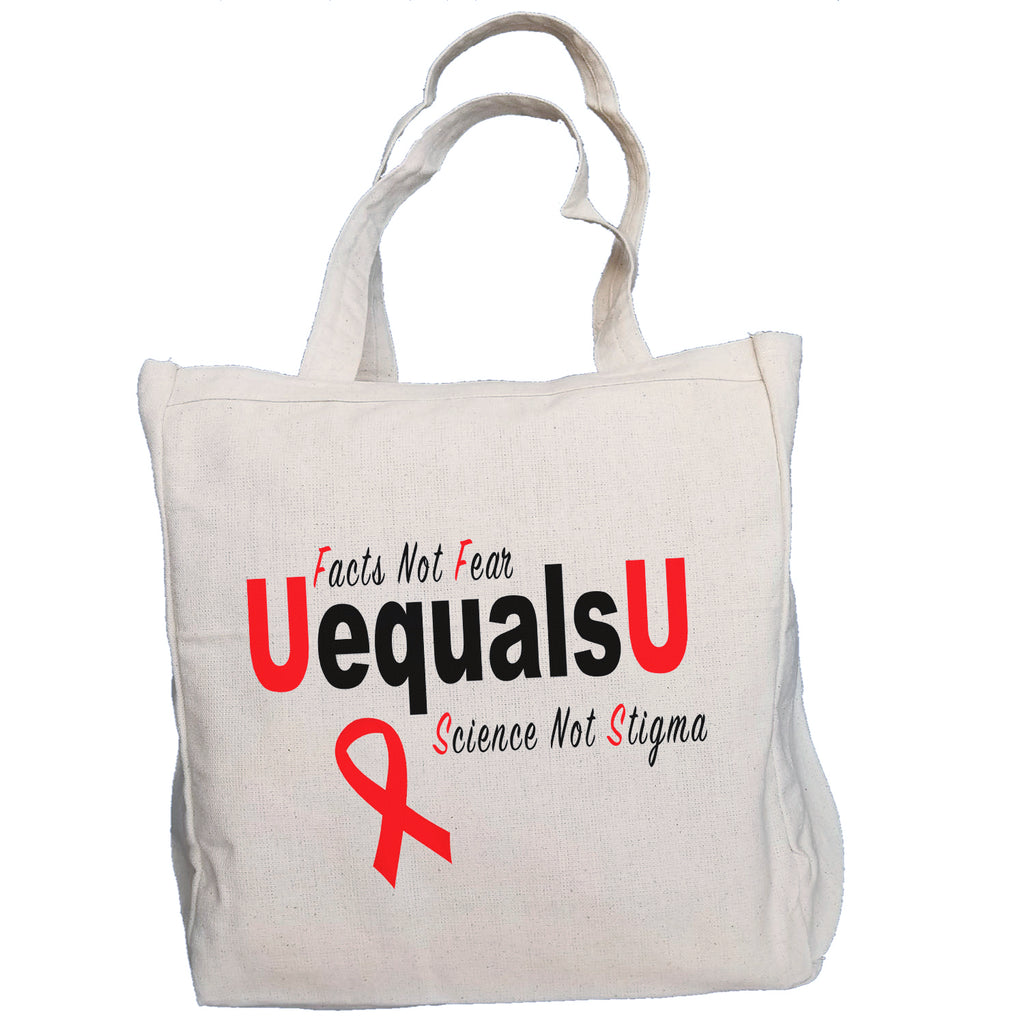 Ink Trendz UequalsU U=U Facts Not Fear Undetectable = Untransmitable  HIV Awareness 10oz. Natural Canvas Cotton Tote, u=u tote bag, HIV Awareness Promotional Items, HIV Awareness, Stop the Stigma, HIV Ribbon, HIV/Aids Swag, HIV BAG