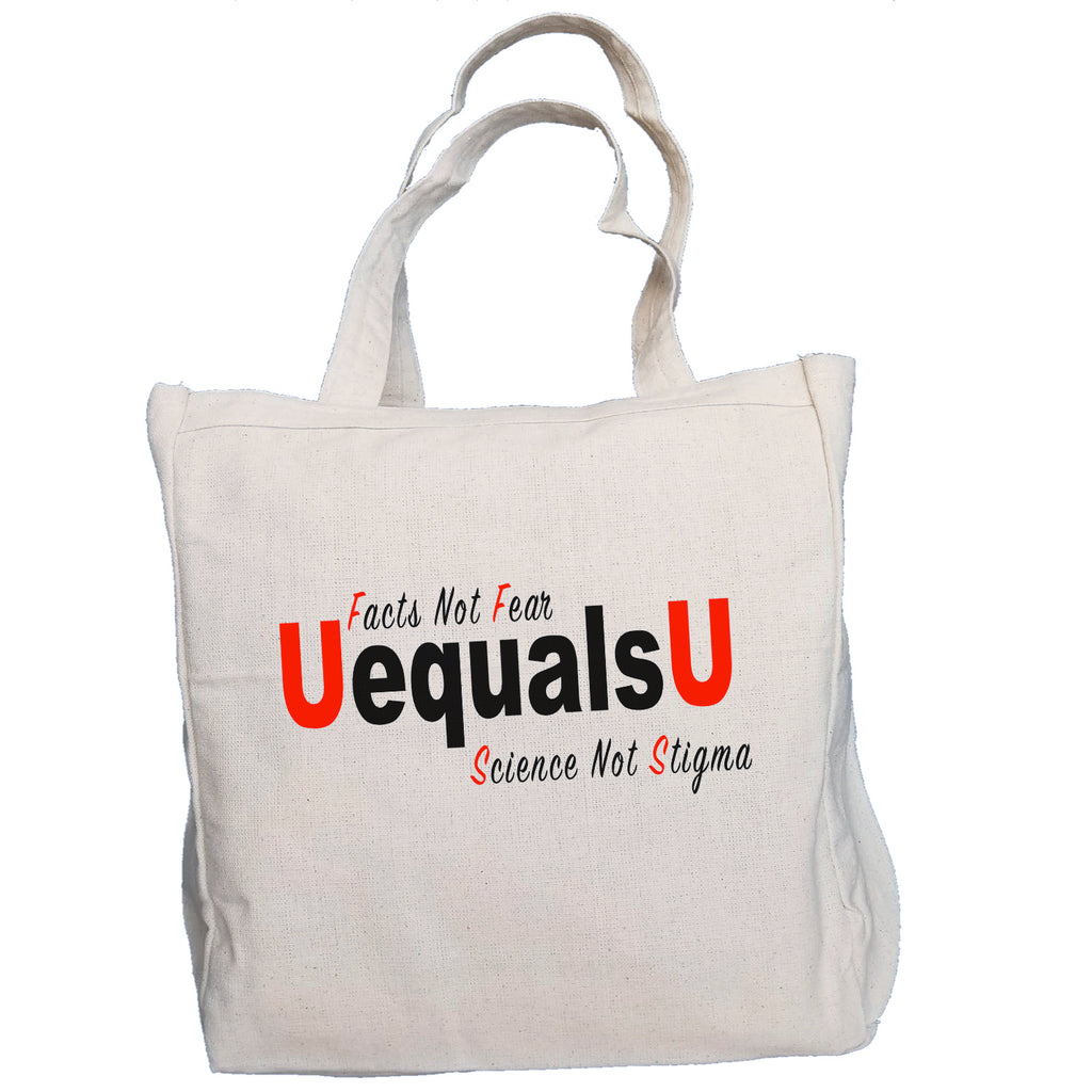 Ink Trendz UequalsU U=U Facts Not Fear Undetectable = Untransmitable  HIV Awareness 10oz. Natural Canvas Cotton Tote, u=u tote bag, HIV Awareness Promotional Items, HIV Awareness, Stop the Stigma