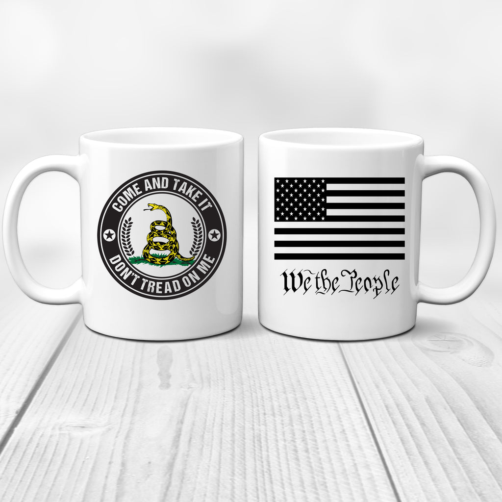 Ink Trendz® Come and Take It | Don't Tread On Me Gadsden | We the People 11 Oz. Coffee Mug Cup, Military Mug, Army Mug, Constitution Mug