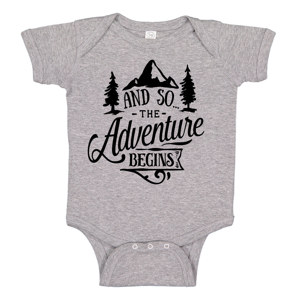 Ink Trendz® And So The Adventure Begins Baby Pregnancy Announcement Baby Bodysuit One piece Romper Baby announcement, pregnancy Reveal