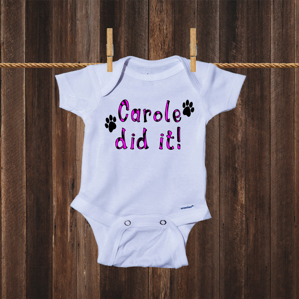 Ink Trendz® Carole Did It! Pink Tiger Animal Print Tiger King Themed Baby Onesie®