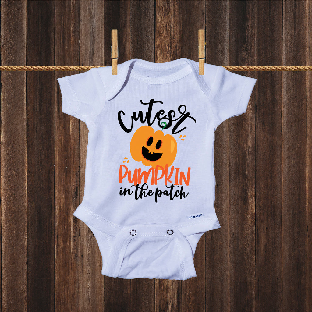 Ink Trendz Cutest Pumpkin in the Patch Funny Halloween Baby Onesie® One-Piece Bodysuit