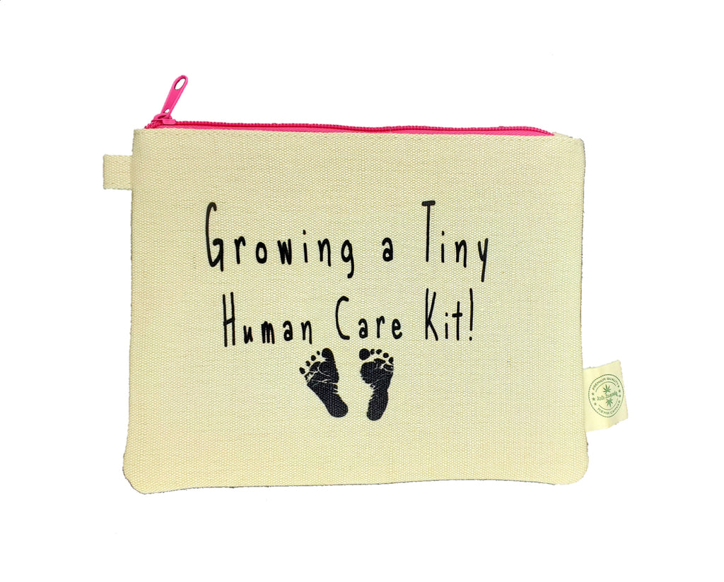 Ink Trendz® Growing a Tiny Human Care Kit! Pregnancy Cosmetic Zipper Hemp Pouch Bag, Gender Reveal Gift, Pregnancy Gift, Baby Shower Gift, Best Friend Pregnancy Gift, Growing a tiny Human gift