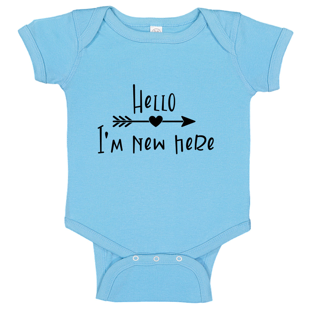 Ink Trendz® Hello I'm New Here Cute Announcement Baby Romper Bodysuit in baby blue Onesie